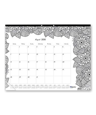 This 22'' Botanical Doodle August 2016 - July 2017 Desk Calendar is perfect! #zulilyfinds