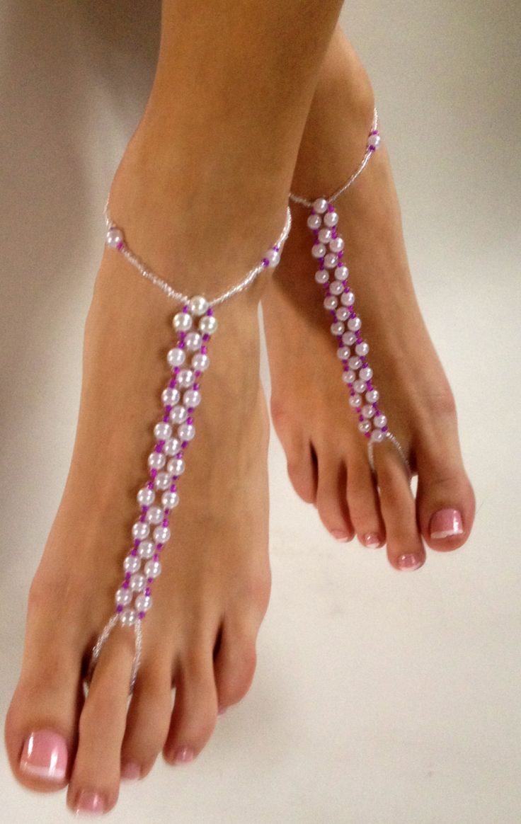 New to BareSandals on Etsy: Pearl and Fusia Hot Pink Barefoot Sandals Foot Jewelry Foot Thong Custom Anklet Destination Wedding Shoes (40.00 USD)
