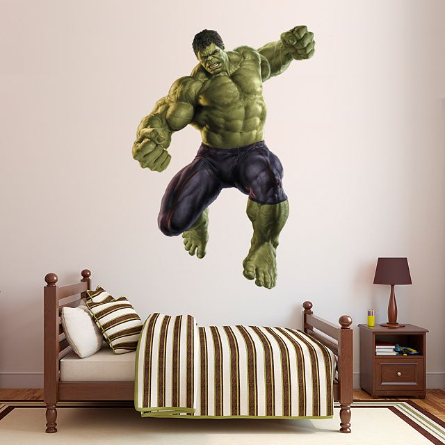 Kids bedroom featuring a hulk age of ultron fathead wall decal if you
