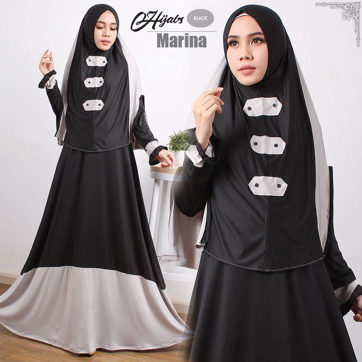 Baju Gamis Murah | Ready Marina Syari Hitam Abu Tangan Pertama