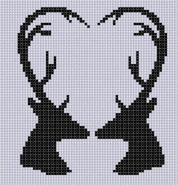 Deer Heart Cross Stitch Pattern    Craftsy