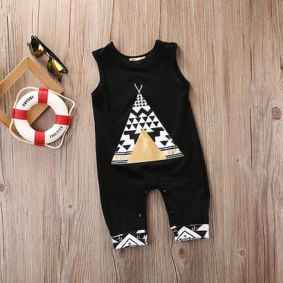 2017 New Summer Newborn Infant Baby Boy Girl Bodysuit Cotton Sleeveless Cute Fox Black Loose Bodysuit Baby Clothes Outfits