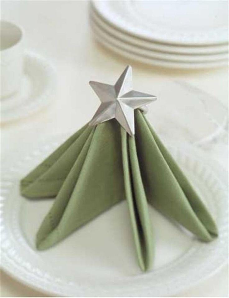 Après les bottines et les chapeaux de lutins de Noël (voir le lien au bas) voici le sapin de Noël! vous pourrez faire un modèle de chaque dans les assiettes! Ou toutes les mêmes! Avec de belles serviettes de tissu, que vous pourrez réutiliser l'an pr