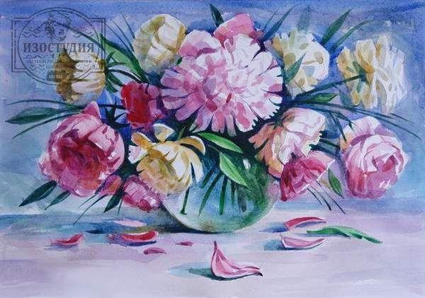Натюрморт с цветами на уроках акварели в изостудии, «Ваза с пионами». Уроки акварельной живописи на курсах для взрослых и школьников