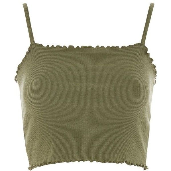 Topshop Lettuce Hem Crop Camisole Top ($8.01) ❤ liked on Polyvore featuring tops, khaki, brown camisole, cropped cami, crop top, camisole crop top and brown crop top