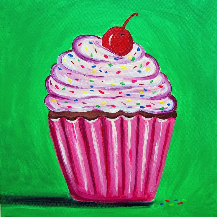 Cute cupcake canvas paint idea for wall decor. Cupcake with sprinkles and a cherry. Pink and green. Canvas painting. Wall art.