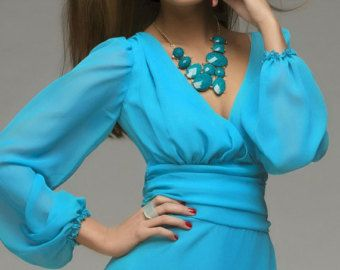 Azul cobalto Formal Dress.Tulle falda Lush.Prom por FashionDress8
