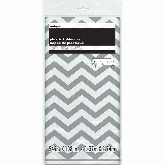 """Plastic Silver Chevron Tablecloth, 108"""" x 54"""""""