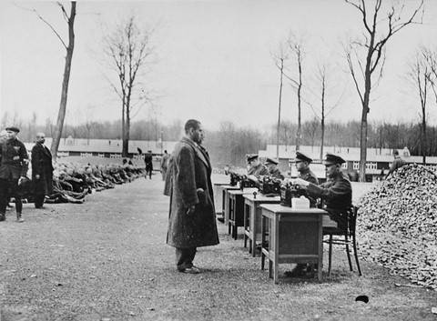 Registration of prisoners upon arrival at Buchenwald concentration camp.  (1938)