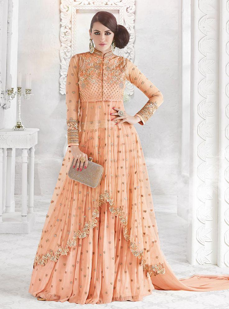 Peach Net Lehenga With Long Choli 88996