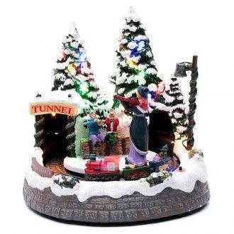 Villaggio bianco natalizio con treno in movimento 20x20x20 cm
