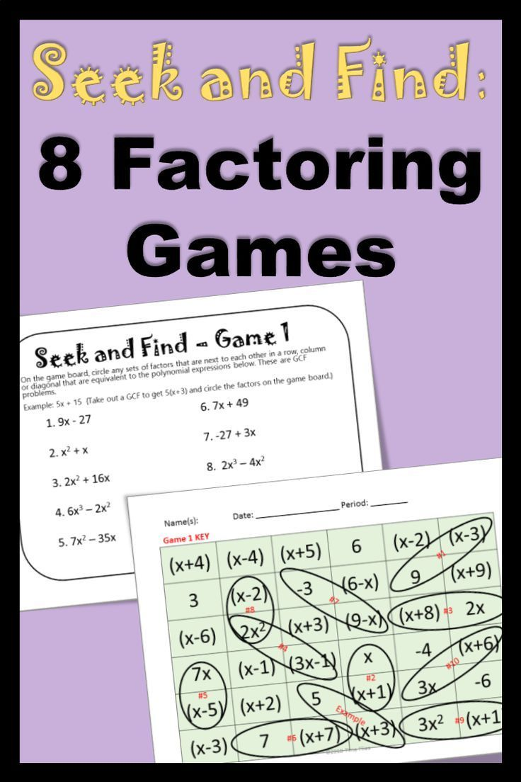 Need Some Factoring Practice These Games Cover All Types Of Factoring Problems There Are 80 Problems In Factoring Polynomials Secondary Math Teaching Algebra