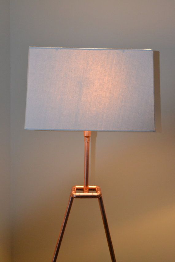 "Handmade Minimalist Industrial Copper Tube Pipe Floor Lamp ""Angular Delight"""