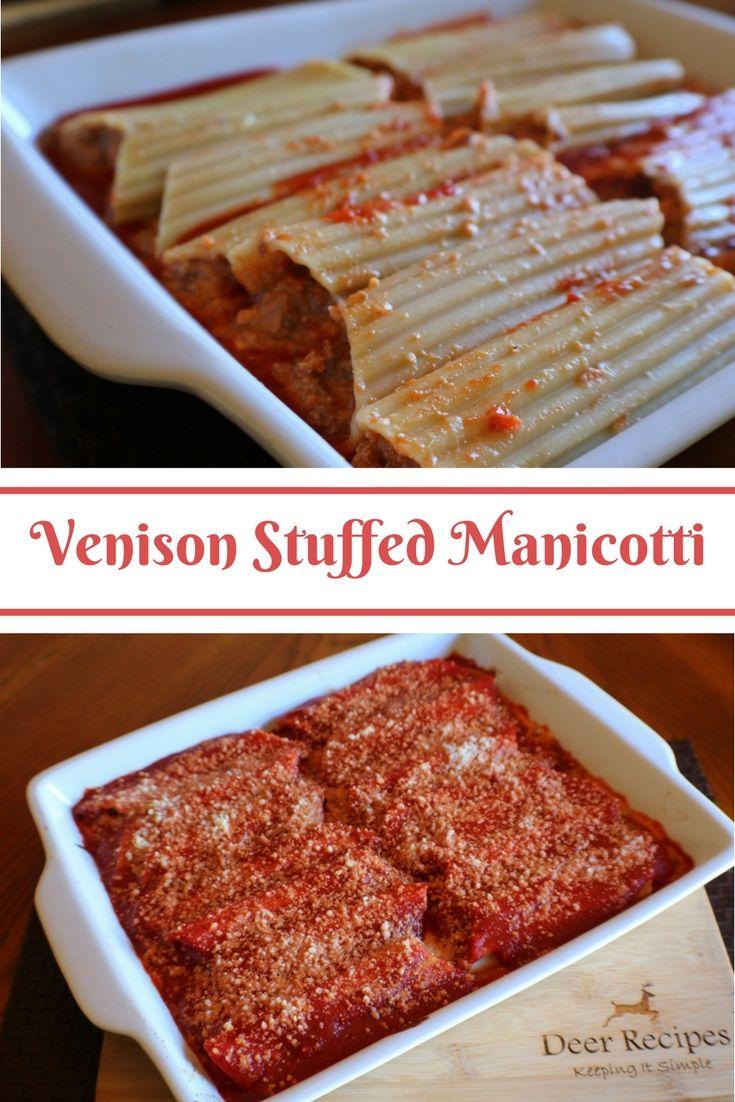 Venison Stuffed Manicotti Collage