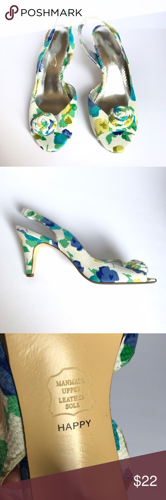 • Michaelangelo • colorful floral heels White heeled sandals with green and blue watercolor floral pattern. Flower detail on uppers. Leather sole. Bright and vibrant shoes for spring or summer! Pretty slingback heels to wear to someone's wedding or to brunch! Michaelangelo Shoes Heels