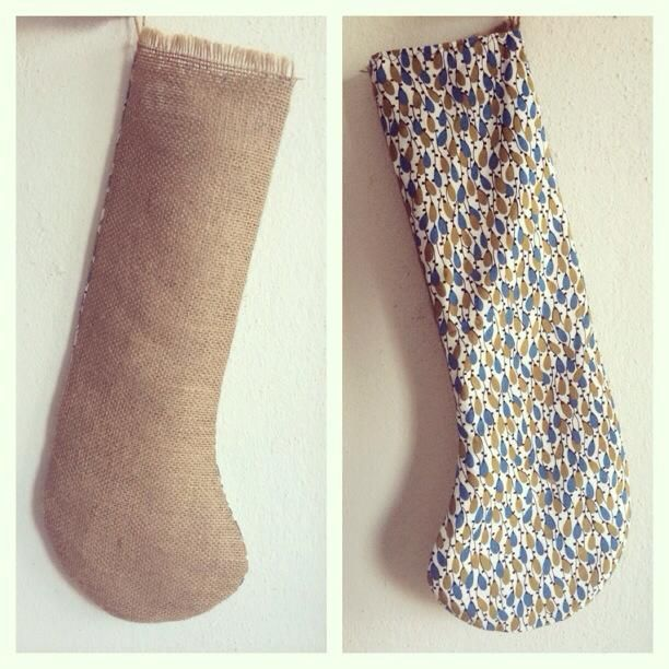 I made this reversible stocking using burlap and a patterned fabric. Use a pattern to cut stocking shape, then sew it inside out. Leave fringe side of