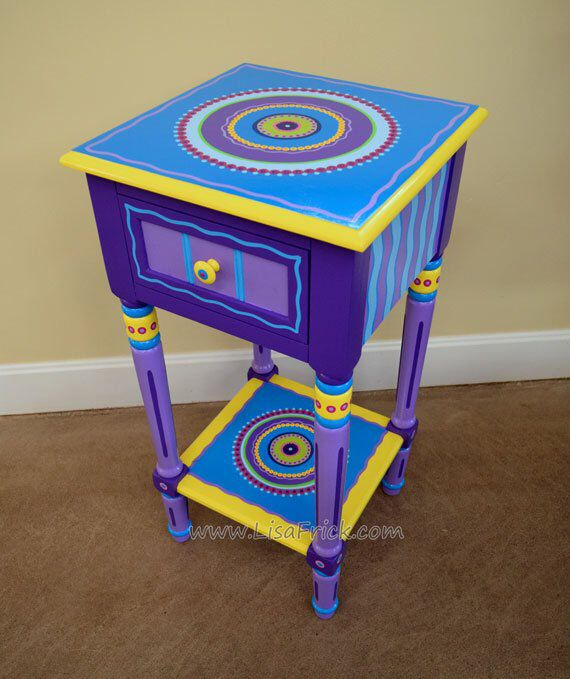 Hand Painted Mandala Side Table Hand Painted Accent Table Etsy Funky Painted Furniture Hand Painted Furniture Painted Furniture Colors