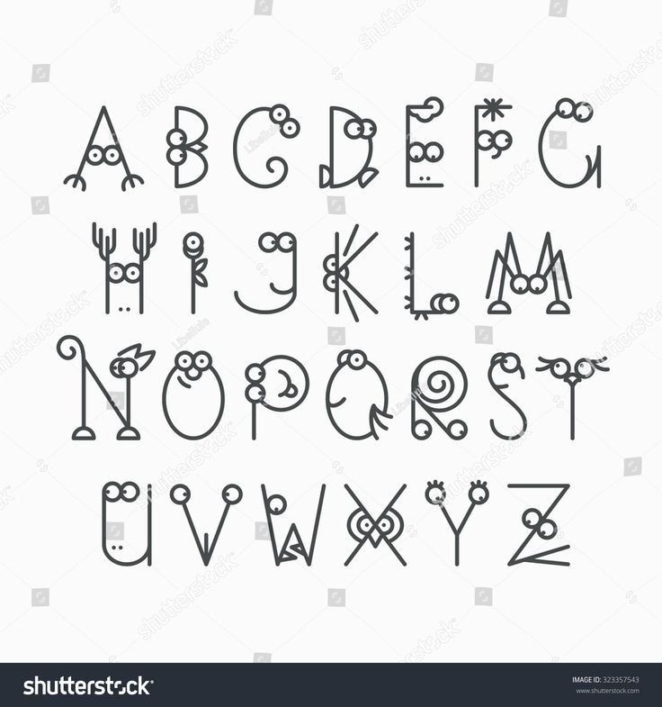 Cute line latin alphabet. Isolated, outline, empty letters for kids design.