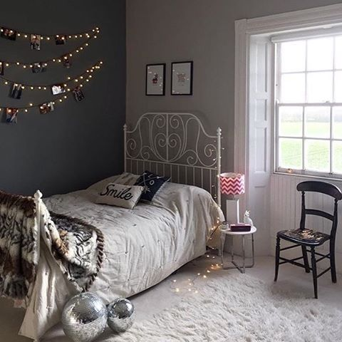 Has added some vintage glam to her teens bedroom and created an eclectic mix of eras we particularly like the fairy light photo wall and the ikea leirvik