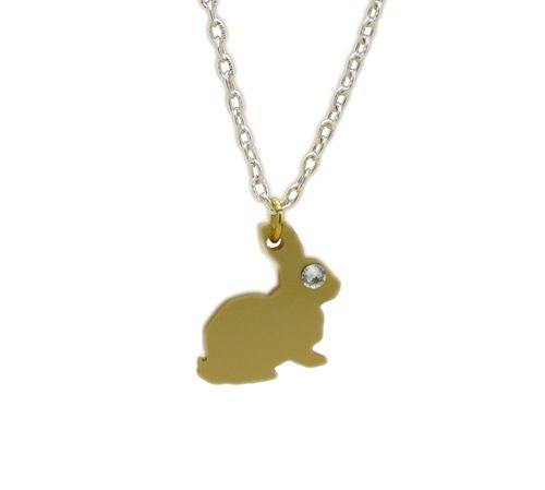 Spring is in the air Dainty Golden Honey Bunny charm necklace made from Perspex In natural Bright Sunlight this golden piece will truly sparkle Each charm is suspended from a 16-18 inch chain   A Gorgeous golden bunny Accessorie alternative for Easter
