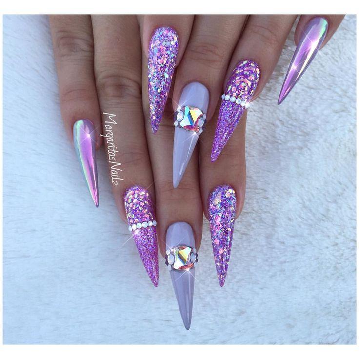 Purple stiletto Nails Chrome and glitter nail art design