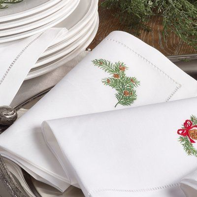 Complete the holiday table with real napkins. Wayfair Embroidered Pine Leaf Christmas Holiday Hemstitched Trim Border Cotton Napkin. #affiliate
