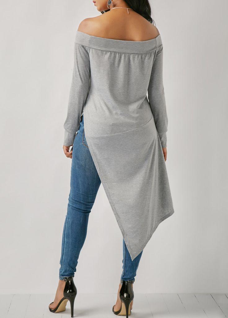 Grey Long Sleeve Asymmetric Hem Bardot Blouse on sale only US$30.64 now, buy cheap Grey Long Sleeve Asymmetric Hem Bardot Blouse at liligal.com