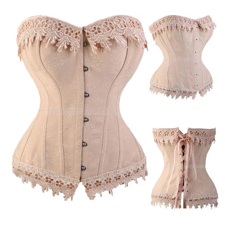 Lace Up Corsets Et Bustiers Overbust Taille Formateur Broderie Sexy Désossé Satin Corset Burlesque Costumes Corselet TYQ