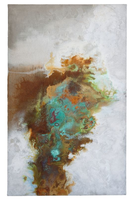 mortier oxyde de fer et cuivre sur toile • 160 x 100 cm • 2011 Cyrille Borgnet