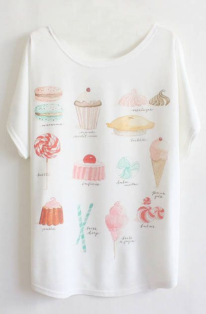 White Batwing Short Sleeve Cakes Print T-Shirt - Sheinside.com