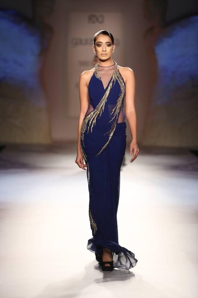 Gaurav Gupta at India Couture Week 2014 - blue fusion sari dress