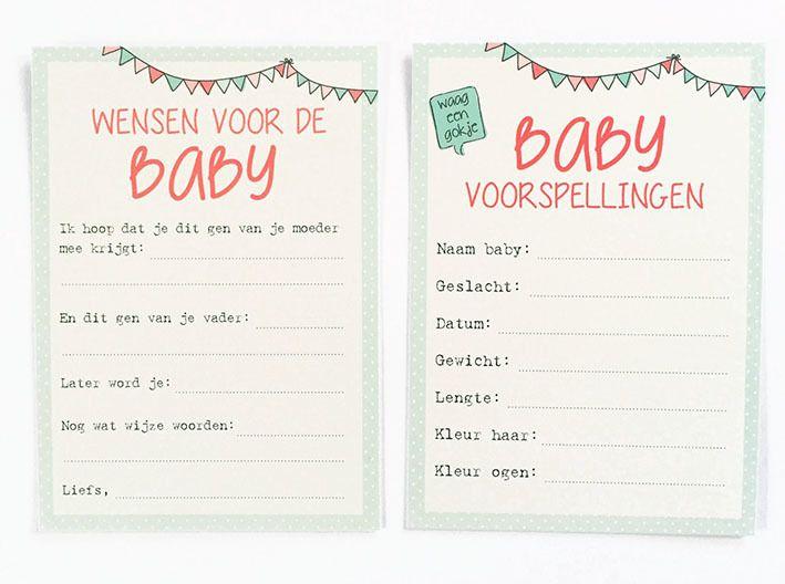 Baby invulkaarten. Steeds vaker worden er hier ook in nederland babyshowers georganiseerd. Kadootjes, spelletjes en lekkere hapjes. En wat is er dan leuker om voorspellingen te doen over de ongeboren baby! Deze dubbelzijdige kaartjes bevatten leuke vragen en zullen voor veel lol zorgen tijdens de babyshower. Natuurlijk kun je de kaartjes ook gewoon in huis halen om door familie en vrienden te laten invullen. Met een handig lintje kun je deze 10 kaartjes mooi bij elkaar houden.