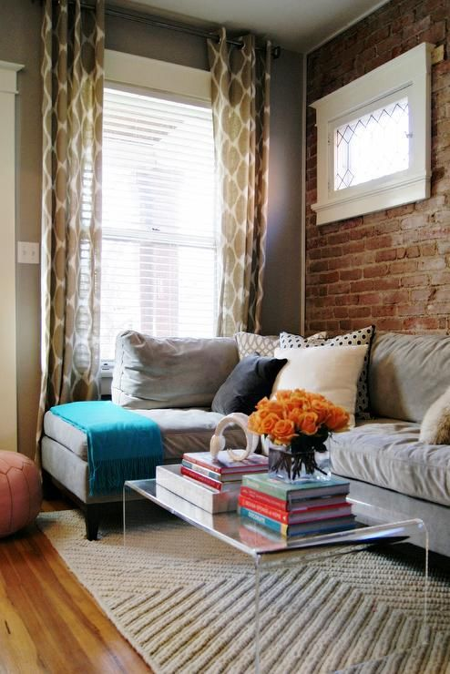 AWID: Ashleigh Weatherill Interior Design - Casual living space. - love the exposed brick and window.