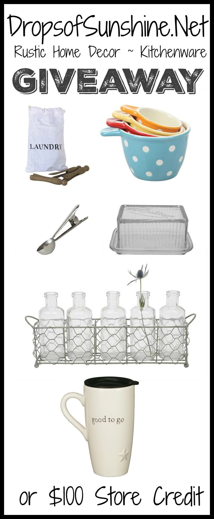 Giveaway to Drops of Sunshine online boutique. Home decor and kitchen accessories with a rustic twist that make beautiful gifts!