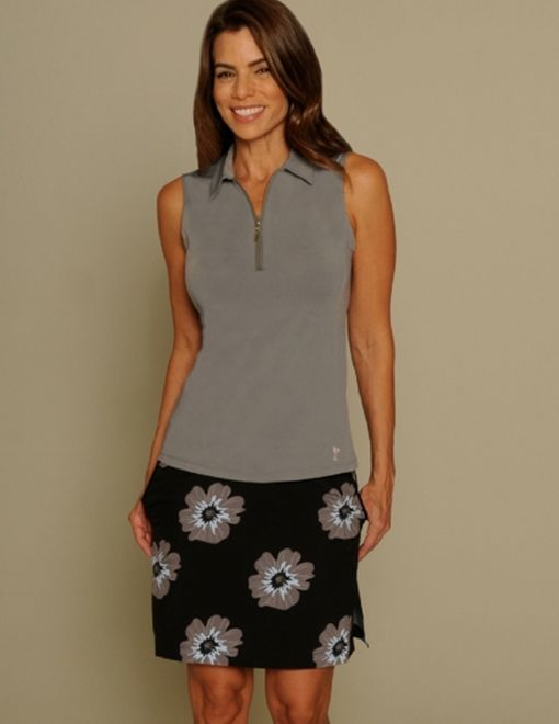 Grey & Black Floral Golftini Ladies Golf Outfits (Shirt & Skorts)! More stylish ladies outfits at #lorisgolfshoppe