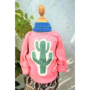 Smuk laksefarvet bluse med applikeret kaktus, str. 92, upcyclet genbrug
