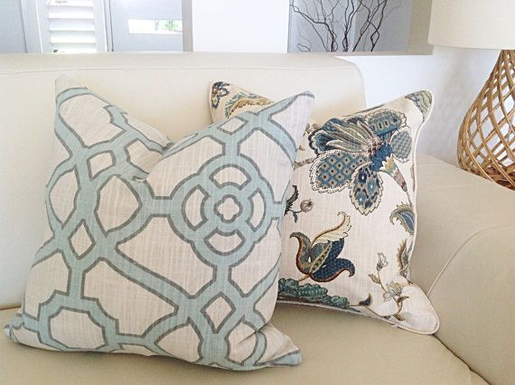 Hamptons Cushions, Aqua, Teal, Tan Floral Cushion Cover, Finders Keepers Floral Pillows. Floral Cushions, Scatter Cushion.