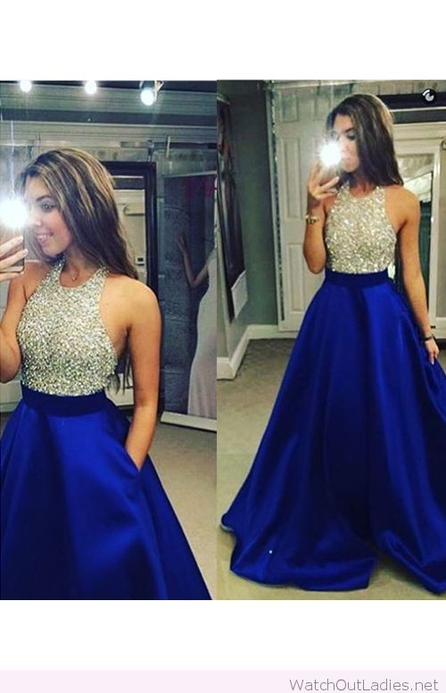 Long electric blue and silver glitter dress
