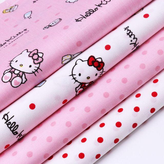 40 * 50 CM 100% algodón tela Hello Kitty impresa sarga Tissu Telas de costura del remiendo DIY colchas finas bebé ropa hechos a mano DollsTilda