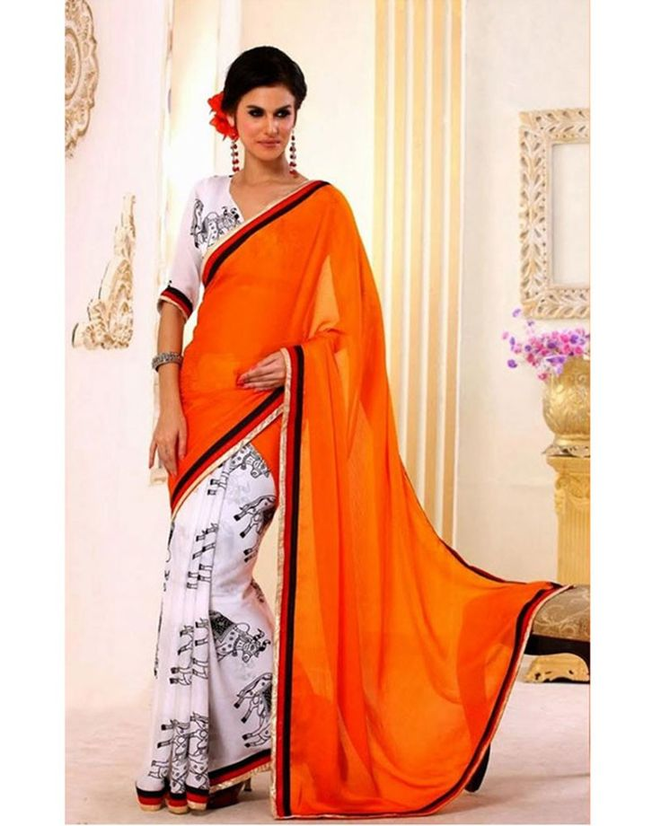 Stylelok Off White Bemberg Fashionable Saree
