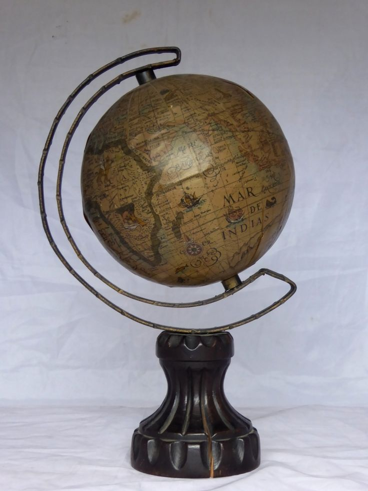 Vintage World Globe on Timber Stand Homemade? - The Collectors Bag