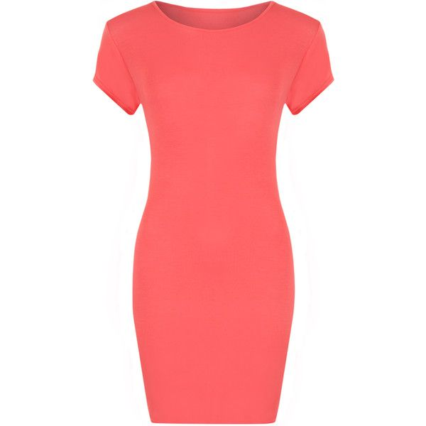 Luella Bodycon T-Shirt Dress ($14) ❤ liked on Polyvore featuring dresses, cerise, tee dress, scoop neck bodycon dress, red dress, red bodycon dress and basic tshirt