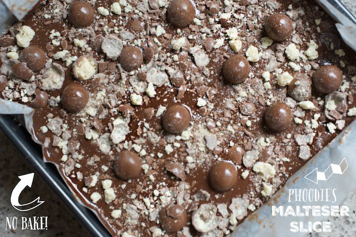 INGREDIENTS 125g butter 395g tin condensed milk 4heaped tablespoonsMilo 4cups rice bubbles 2cups Maltesers –1 cup goes into the base mix and the other cup is for the topping (reserve 16 for topping and crush the rest) 300g darkchocolate 1 tbs coconut oil (or copha) melted –optional, you can just melt the chocolate alone if you like.