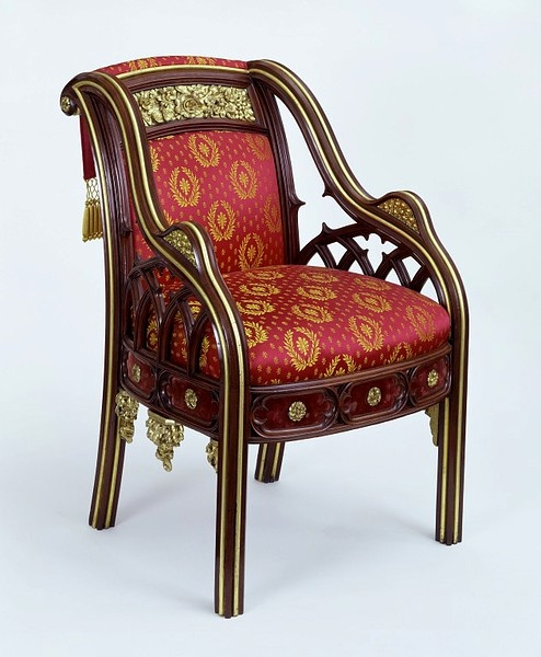 Armchair From Eaton Hall By A. Pugin  c.1823 - The Victoria & Albert Museum   This photo shows the replicated original upholstery.