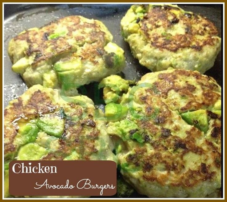 Makes 4 yummy burgers! CHICKEN AVOCADO BURGER 1 lb ground chicken 1 large avocado 1 garlic clove (chopped) 1/4 cup panko bread crumbs Salt and pepper Jalapeños or poblano peppers (optional) I...