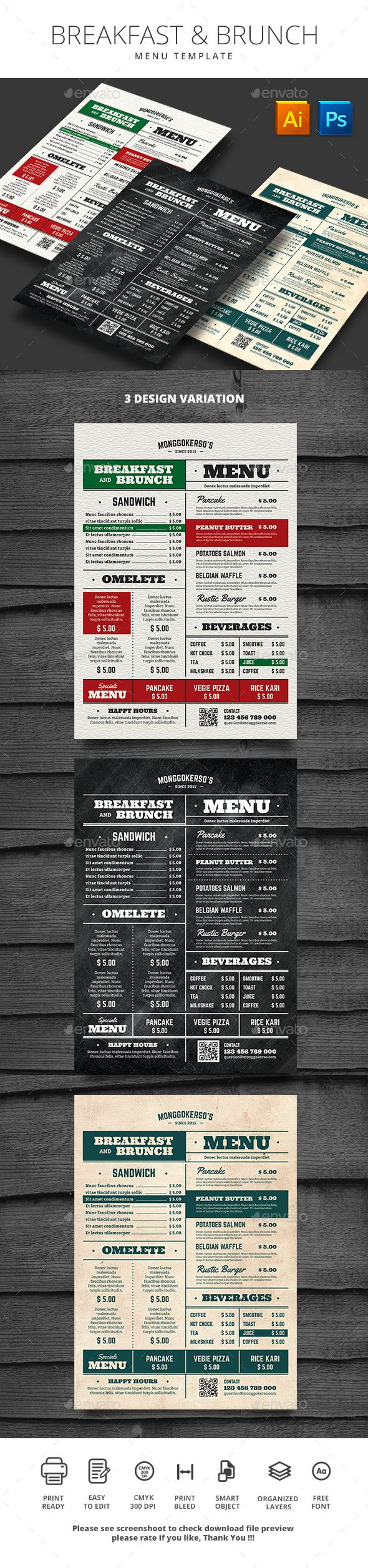 Breakfast and Brunch Menu Template PSD, AI Illustrator. Download here: https://graphicriver.net/item/breakfast-and-brunch-menu/17548127?ref=ksioks