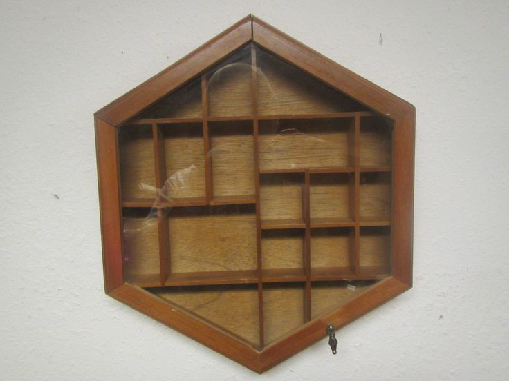6 Sided Wood Curio shelf, Shadow Box, Display Case , with Glass Door ** 6 sided shelf by mauryscollectibles on Etsy