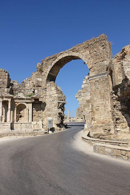Vespasian Gate - Side, Antalya, TURKEY.  Heading here next year.