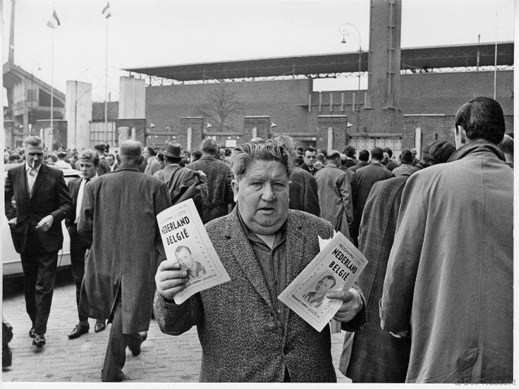 1960's. Soccer enthousiasts gather at the Olympic Stadion in Amsterdam before the soccer match between the Netherlands and Belgium. Photo Dolf Toussaint. #amsterdam #1960 #OlympicStadion #Stadionplein