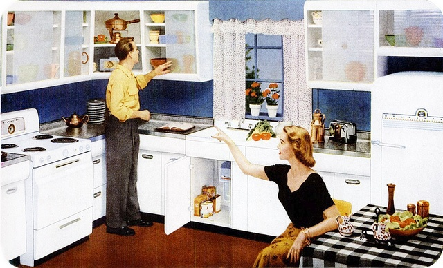 "You can practically hear him saying, ""This one, dear?"" :) #vintage #ad #couple #kitchen #husband #wife #homemaker #1950s"